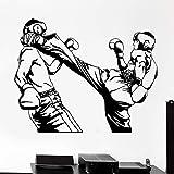 Taekwondo Sports Vinilo Adhesivo de pared Karate Kick Boxing Boxer Tatuajes de pared Inicio Dormitorio Decoración Accesorios Extraíble