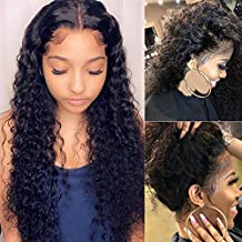 Deep Wave Lace Front Wig Human Hair Pre-Plucked 150% Density Glueless Deep Wave Lace Frontal Wigs Human Hair for Black Women 18 Inch Brazilian Remy Deep Wave Curly Lace Frontal Wigs with Baby Hair