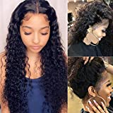 Glueless Deep Wave Lace Front Wigs for Black Women Human Hair 26 Inch Brazlian Deep Wave Frontal Wig with Baby Hair Pre Plucked Lace Frontal Wig 150% Density Human Hair Wigs Curly Water Wave Wigs