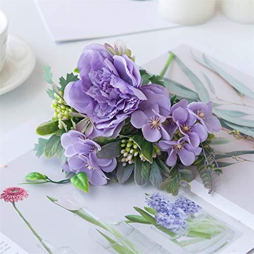 ARWQ857 Blanco Rose Flores Artificiales Peonía Ramo Boda Decoración Boda Plásicas Plantas Fake Plantas Jarrones para Arreglo Mesa (Color : Purple)