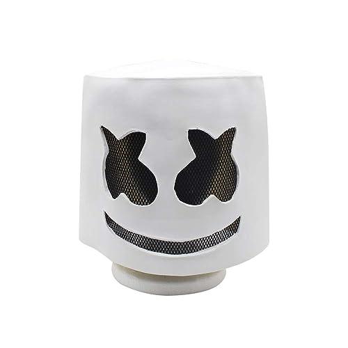 BESTOYARD Zombie Mask Electronic Syllables DJ Headgear Hood Scary Horror Zombie Mask(White)
