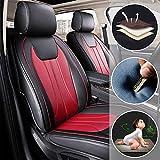 全天候用カスタムフィットシートカバー 日産 Nissan GT-R 5座席完全保護防水カーシートカバーウルトラコンフォート ブラック&レッド フルセット