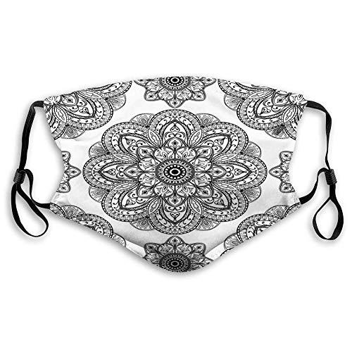 Gesichtsdekorationen Gesichtsschutz, Verziertes Muster von Mandala mit symmetrischen Formen und Fliesen esque persisches Bild