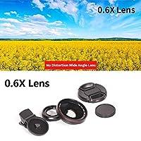 スマートフォンのための4K HDスーパー15倍のマクロレンズのための抗歪み0.45倍0.6倍の広角レンズ2の1つの携帯電話レンズカメラキット (Color : 0.6X Black)