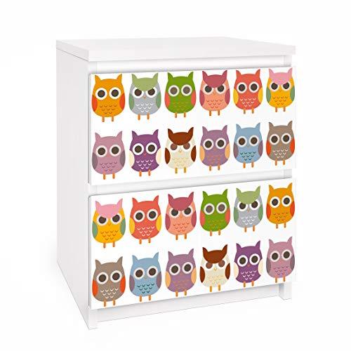 Apalis Vinilo Adhesivo para Muebles IKEA - Malm Dresser 2xDrawers - no.EK147 Owl Parade Set II, Größe:2 Mal 20cm x 40cm