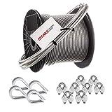 Seilwerk STANKE Corda in acciaio zincato con rivestimento in pvc 20m fune in acciaio con un diametro di 2mm 1x19, 4x ditale, 8x fascetta per arco - SET 2