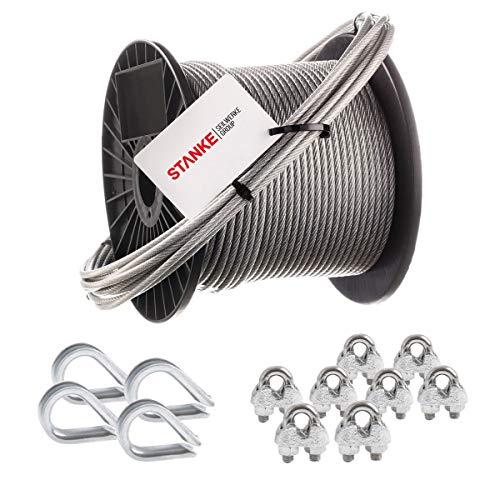 Seilwerk STANKE Rankhilfe PVC Drahtseil ummantelt verzinkt 50m Stahlseil 3mm 6x7, 4x Kausche, 8x Bügelformklemme - SET 2