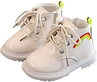 Hopscotch Baby Girls PU Rainbow Print Boots in White Color