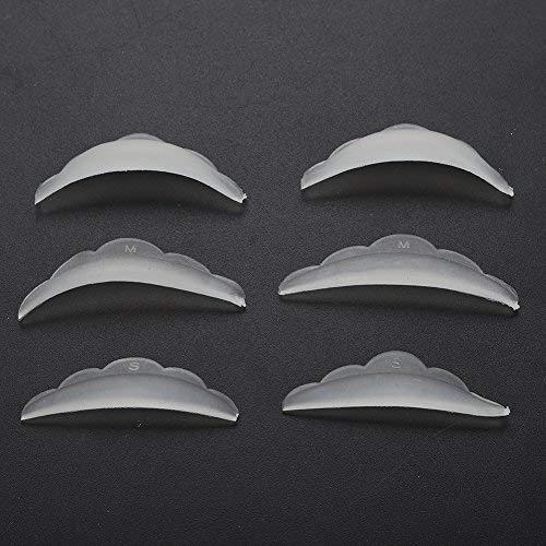 3 pares de almohadillas de protección de silicona de rizo Extensión de pestañas de pestañas de rizado S M L