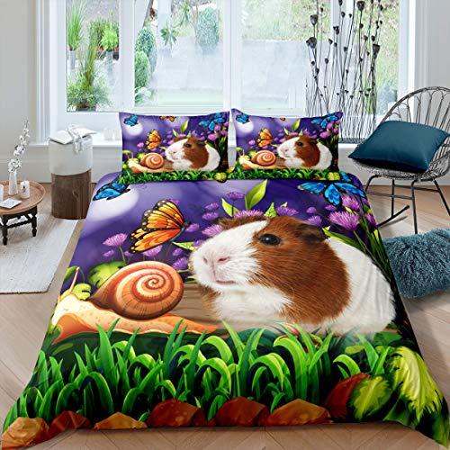 Marsvin täcke söt cavy fjäril sniglar sängkläder set för barn pojkar flickor barn botanisk blommig täcke täcke ultramjuk dekor tecknat underbart djur överkast täcke dubbel storlek dragkedja
