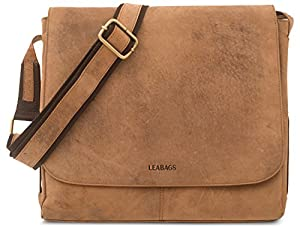 LEABAGS Hamburg genuine buffalo leather messenger bag in vintage style