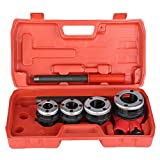 Pipe Threading Kit Taps and Dies Tool, Manual Pipe Threading Kit Set with 4 Dies 1/2' 3/4' 1' 1-1/4' Pipe Threader Tool and Firm Case, 5Pcs Pipe Threading Manual Plumber Threader Tool Kit Set