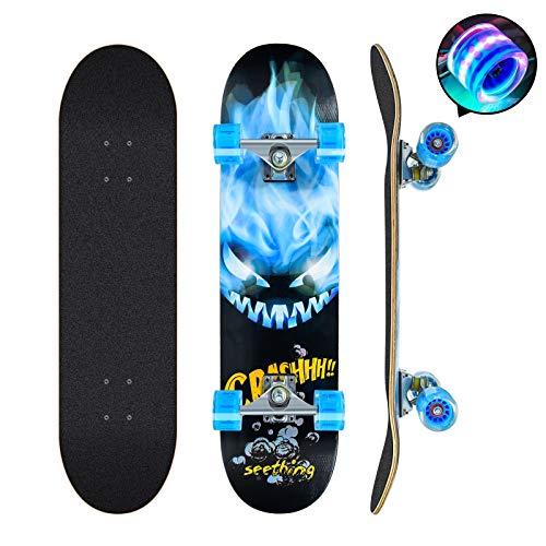 Skateboards Pro 78,7 cm Komplett-Skateboards Double Kick Longboard für Teenager Anfänger Mädchen Jungen Kinder Erwachsene, 7-lagiges Ahornholz Skateboard (blau)