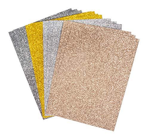 Rayher 67362000 Glitterpapier Mix - Basics, selbstklebend, 12 Blatt, DIN A5, 14,8 x 21 cm, 130g/m2, 4 Farben sortiert, Glitzer-Papier zum Basteln