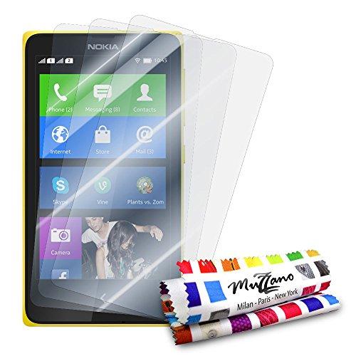 MUZZANO - Set di 3 pellicole protettive per Display Ultra Trasparenti, per Cellulare/Tablet Nokia x Dual SIM Trasparente
