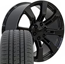 SET of 22x9 Wheels & Tires Fit GMC Chevy Trucks & SUV - Cadillac Escalade Style Black Rims, Hollander 5409