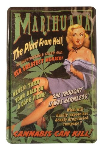 Blechschild Marihuana - The Plant from Hell 20 x 30cm Reklame Retro Blech 115