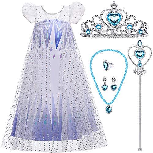 vamei Prinzessin Kostüm Mädchen Kleider Prinzessin ELSA Kleid mit Krone Zauberstäbe Halskette Ohrringe, Prinzessin Zubehör ELSA Kleid Abendkleid Mädchen für Geburtstag Party Halloween (120)
