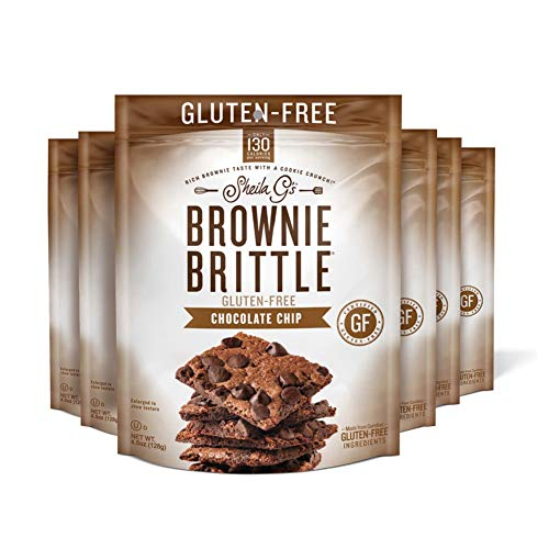 Sheila G's Brownie Brittle Gluten Free Chocolate Chip- Low Calorie, Healthy Chocolate, Sweets & Treats Dessert, Thin Sweet Crispy Snack-Rich Brownie Taste with a Cookie Crunch- 4.5oz, Pack of 6