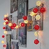 2020, warm, Shento, 20 LED-Kugeln, Rattan, Weihnachtsgirlande, für den Urlaub, Outdoor, LED,...