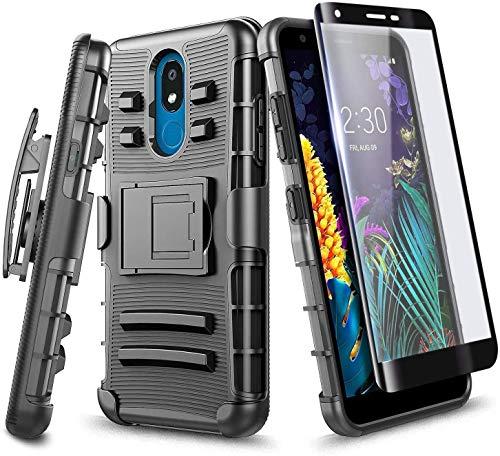 NZND Case for LG Rebel 4 LTE, Aristo 2/3 Plus, Aristo 3/Tribute Dynasty/Empire/Zone 4/Phoenix 4/Fortune 2/Risio 3/Rebel 3/K8+/K8s with Tempered Glass Screen Protector, Belt Clip Holster -Black