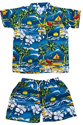 CLUB CUBANA Hawaii-Hemden und Shorts für Kinder, schmale Passform, kurzärmelig, lässig, Blumenmuster Gr. 8-9 Jahre, hellblau