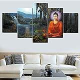 DBFHC Cuadros Modernos Impresión De Imagen Artística Digitalizada Budismo Lienzo Decorativo para Salón O Dormitorio 5 Piezas XXL