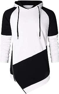 LUCAMORE Mens Fashion Long Sleeves Hoodies Patchwork Irregular Autumn Spring Sweatshirt Blouse Shirt