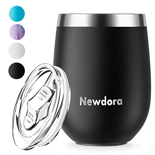 Newdora 12 OZ Edelstahl Stemless Weinglas Becher Doppelwandiger vakuumisolierter Bulk Weinbecher mit Deckel Perfekt für Kaffee, Wein, Cocktails, Getränke, EIS(Schwarz)