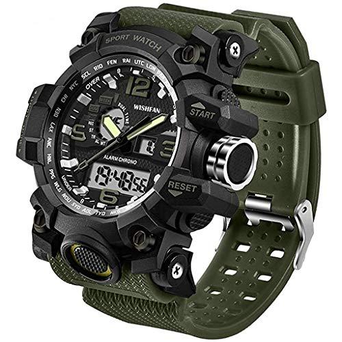 ZXQZ Relojes de Pulsera Reloj de Pulsera para Hombre, Reloj Digital Impermeable de Doble Pantalla con Reloj Despertador, para Acampar Deportes Al Aire Libre Watches (Color : Army Green)