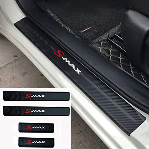 NTUOO 4Pcs Pegatinas Umbral Coche Fibra Carbono, para Ford Smax S-MAX Parachoques Threshold Pedal Arañazos Resistente Película Calcomanías, Auto Estilo Accesorios