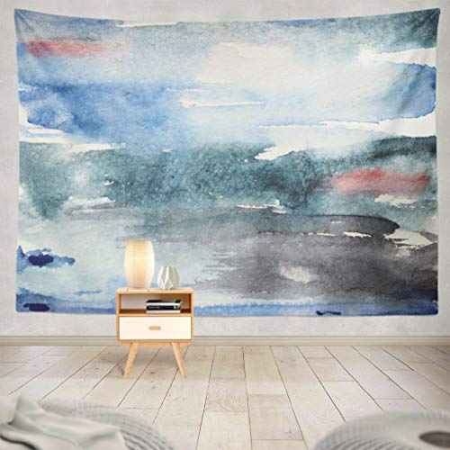 LALILO Abstract Watercolor Decorative Tapestry, Abstract Watercolor Blue and Grey with Pink Accents Wall Hanging Tapestry for Bedroom Living Kids Girls Boys Room Polyester 80 X 60