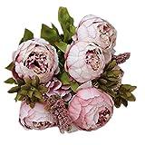 Ineternet 1 Bouquet 8 Têtes Artificielles Pivoine Soie Fleur Feuille Home Party Decor de Mariage (Kaki)
