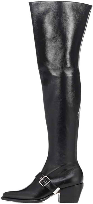 Themost läder Combath Boot s, Frosts, 65533;Woherrar Over The Knee Knee Knee High Boot Chunky Heel Booslipss Thigh High Boot s  i stadionens kampanjer