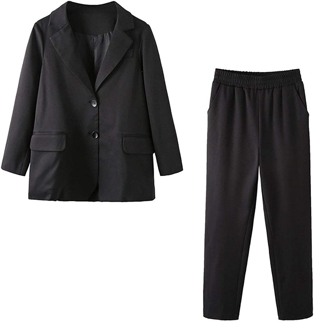 utcoco Womens Boyfriend 2 pcs 1 Set Work Office 2-Button Blazer Jacket Pants Suit