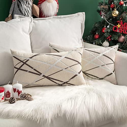 cuscino divano rettangolare MIULEE Copricuscini 2 Pezzi Federe per Cuscini Poliestere Stampata a Raggi Elegante Rettangolare Resistente lavabile Decorativo per Giardino Esterno Soggiorno 30X50 CM Bianco Latte