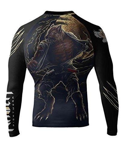 Raven Fightwear Men's BJJ Horror Werewolf Long Sleeve MMA Rash Guard Large Black
