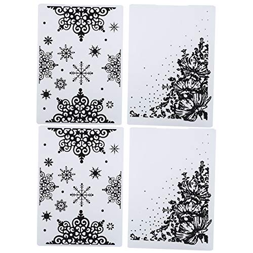 4Pcs Plastic Embossing Folders Template 5.8 x 4.1in Paper Card Embossing Folder Stencil for Making Photo Album Wedding Decoration Scrapbooking