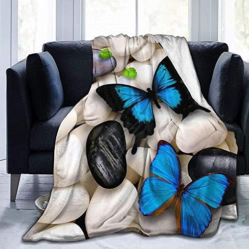 DWgatan Couverture,Couvre-lit de canapé Polyvalent Doux et Chaud de qualité Butterfly Stone Embroidery Paintings Printed Blanket for Bedroom Living Room Couch Bed Sofa -50\