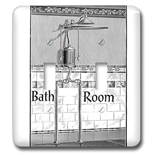 2 Gang Wall Plate Cover Decorator Wall Switch Light Plate Double Toggle Switch Image of Black and White Victorian Shower with Bathroom Classic Beadboard Unbreakable Faceplate