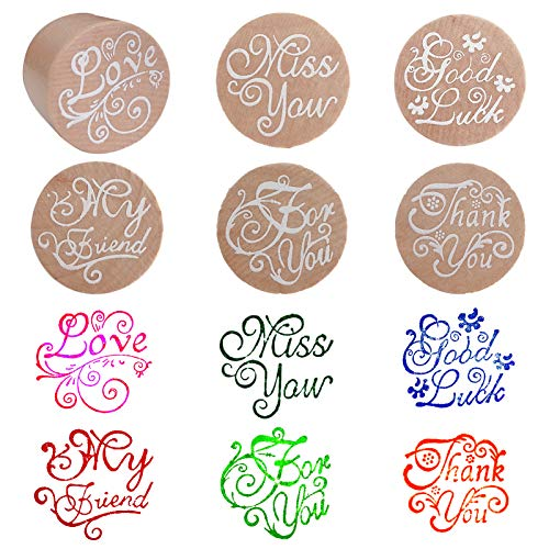 Rubber Stamps Round Wood Decorative Stamp for Card Making, Scrapbooking DIY Craft & Letters
