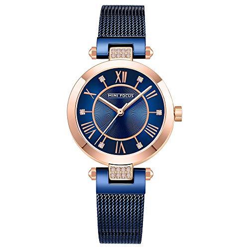 Reloj De Moda para Mujer, Correa De Reloj De Malla De Acero, Esfera Digital Romana, Reloj De Cuarzo Resistente Al Agua