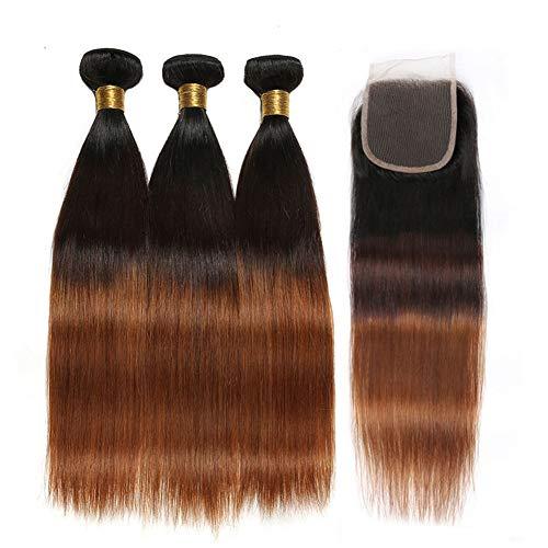 YanT HAIR Cheveux humains brésiliens vierges de qualité 8A+ - Trames de tissage ombrés - Trois couleurs (40,6 cm, 45,7 cm, 50,8 cm + 35,6 cm - Fermeture en dentelle 10,2 x 10,2 cm, couleur T1b/4/30)