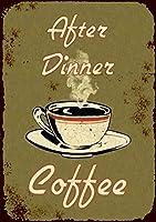 なまけ者雑貨屋 After Dinner Coffee ブリキ看板 壁飾り レトロなデザインボード ポストカード サインプレート 【40×30cm】
