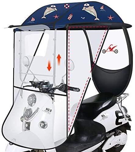DFGH Paraguas Bicicleta eléctrica Toldo Toldo Motocicleta Anti-Parabrisas instalación Lluvia Espejo retrovisor,...