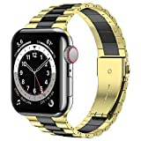 Wolait Compatible with Resin Apple Watch Band 42mm 44mm, Upgraded Fashion Light Stainless Steel Strap Wristband for iWatch SE/Series 6/5/4/3/2/1 Men Women, Gold/Black, 42mm/44mm