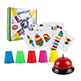 Doyeemei Juego Familiar Beat The Bell Speed Cups Game Match Stack con 54 Tarjetas con imágenes, 20...