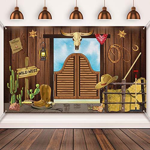 Blulu Pancarta de Fiesta Occidental, Yee Haw Western Selfie Escena para Decoración Temática de Fiesta de Vaquero Occidental, 70,8 x 43,3 Pulgadas