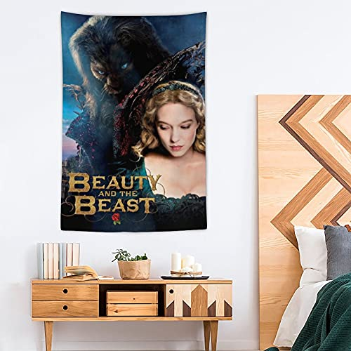 Tapiz de belleza y la bestia – Pop Art – Tapiz de poliéster – Decoración del hogar – 100 x 150 cm