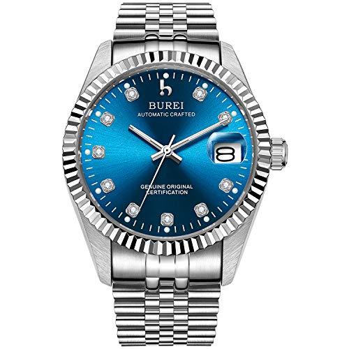 BUREI Herren Uhren mechanische Automatik Armbanduhr Dunkelblau-dial mit Saphirglaslinse Datum Kalender Silbernes Edelstahlband für Mann